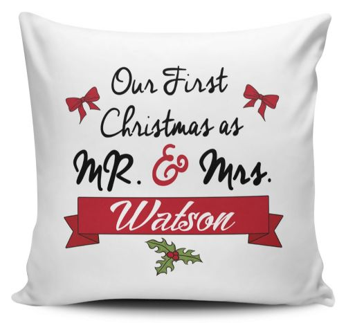 Personalised Our First Christmas As Mr & Mrs... Novelty Cushion Cover